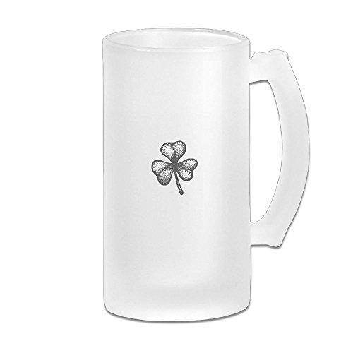 WSXEDC Shamrock Beer Glass Mug Personalized Mug Thick Glass Mug Great For Pub Bars Restaurants 16 Ounce