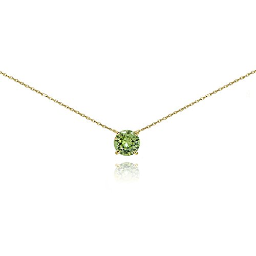 Yellow Gold Flashed Sterling Silver Light Green Solitaire Choker Necklace set with Swarovski Crystal