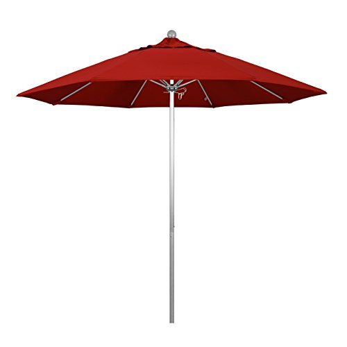 9' Silver Aluminum Pole - California Umbrella 9' Round Aluminum/Fiberglass Umbrella, Push Open, Silver Pole, Pacifica Red Fabric