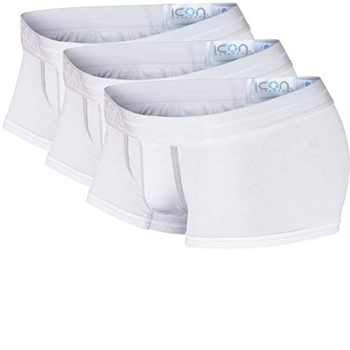 Mens Boxer Low Short Rise (ICON Basewear Lowrise Boxer Brief Underwear, Mens, Three-Pack (White, Large))