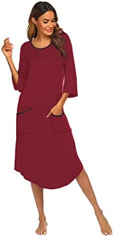 Ekouaer Long Nightgown Women's Loungewear 3/4 Sleeve Sleepwear Midi Length Sleep Shirt with Pockets (S-XXL)