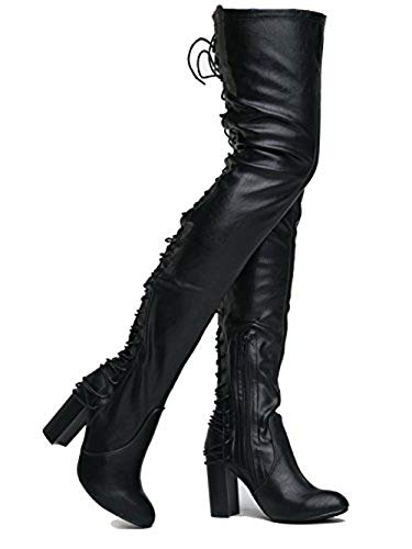 J. Adams Koko Thigh High - High Heel Shoe - Gorgeous Lace up Over The Knee Boot