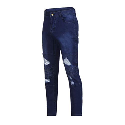 Uomo Con Skinny Elasticizzati Strappati Uomo Beodole Xl Jeans Da Denudati Pantaloni Denim blu Fit Slim Zip jeans PWgS87