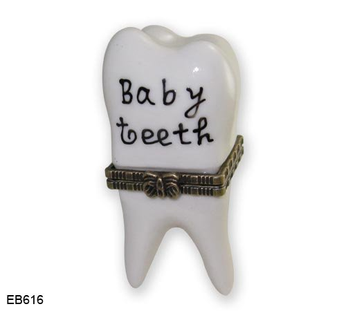 (Porcelain First Baby Tooth Teeth Hinged with Tiny Tooth Trinket Box, 2.5 Inches Tall)