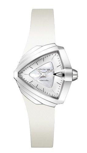 Hamilton Ventura Silver Dial White Rubber Ladies Watch H24251391