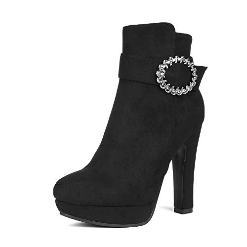 DREAM PAIRS Women's Kailey Black High Heel Ankle Bootie Size 9 B(M) US -