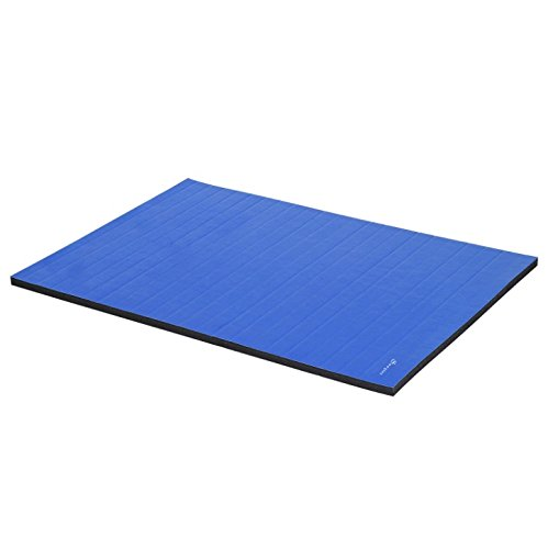 10'x5' Blue Folding Gymnastics Mat Gym Tumbling Pilates Yoga Wrestling Plyometrics Stretching Pad Aerobics Stretching Exercise Fitness Floor Workout Mat Water And Scratch Resistant Surface by HPW