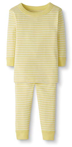 Moon and Back by Hanna Andersson Baby/Toddler 2-Piece Organic Cotton Long Sleeve Stripe Pajama Set, Yellow Stripe, 2T