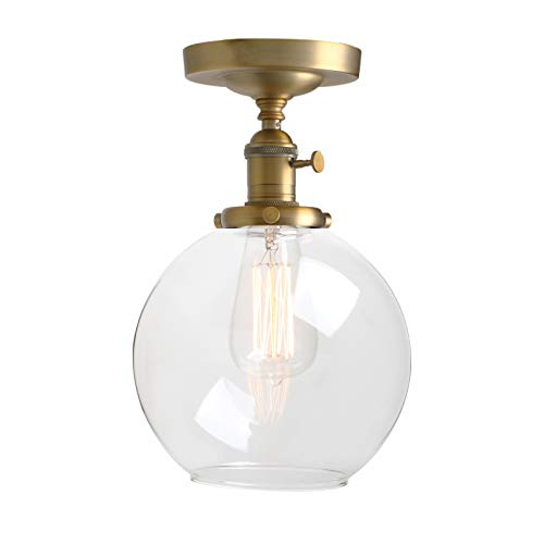 Pathson Ceiling Light, Vintage 1-Light Pendant Lighting with Clear Glass Shade, Semi Flush Mount Close to Ceiling Hanging Lamps (Antique)