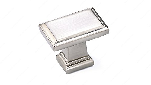 Richelieu Eclectic Metal Knob (Richelieu 7953 Transitional Metal Beveled 1-1/2 Inch Long Rectangular Cabinet Knob from the Expression Collection (Brushed Nickel))