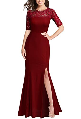 FORTRIC Women Floral Lace Split Prom Formal Party Long Evening Dress Burgundy X-Large
