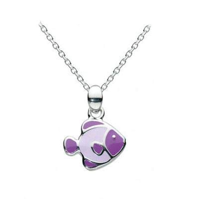 14 Inches Silver Lilac Enameled Tropical Fish Kids Necklace For Girls