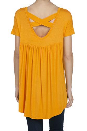 SHOP DORDOR 9045 Women's Short Sleeve V-Neck High Low Criss Cross Back Tunic Tops Marigold L ()