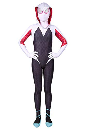 CHECKIN Toddler Kids Spider Verse Miles Morales Gwen Jumpsuit Bodysuit Black Spider Boy Tights Cosplay Costume (Child S/90-110CM, Gwen)]()