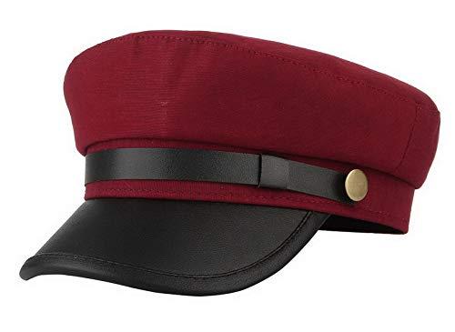 Brcus Men Women Yacht Captain Sailor Hat Newsboy Cabbie Baker Boy Peaked Beret Cap Wine Red -