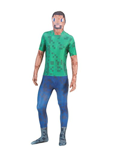 [Pixelated Green Man Morphsuit Costume (Adult XL)] (Full Body Morphsuit)
