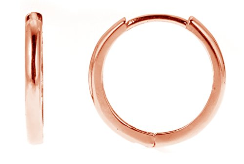 (Ritastephens 14k Rose Pink Gold Mini Huggie Small Hoops Earrings 10 Mm)