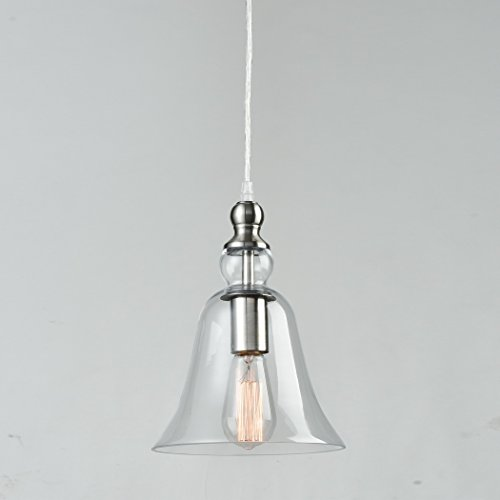 CLAXY Ecopower Modern Hanging Light Big Bell Glass Ceiling Brushed Nickel Pendent Fixture - Brushed Nickel Mini Dome Pendant