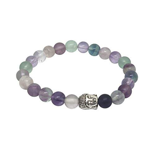 - 'Body Mind Soul' Amethyst & Multi Flourite Gemstone Chakra Bead Buddha Bracelet Natural Stones Handmade Jewelry Men Women Gift Boxed… (Multi Flourite Buddha Bracelet)