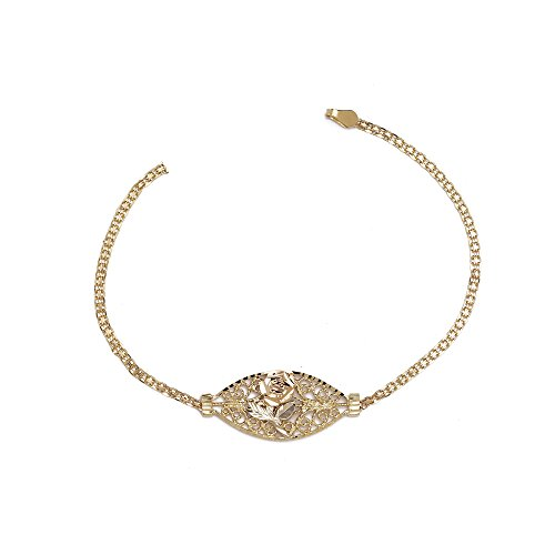 Flower and Rose Fancy Bracelet - 10k Yellow Gold - 7 Inch by SL Bracelet Collection