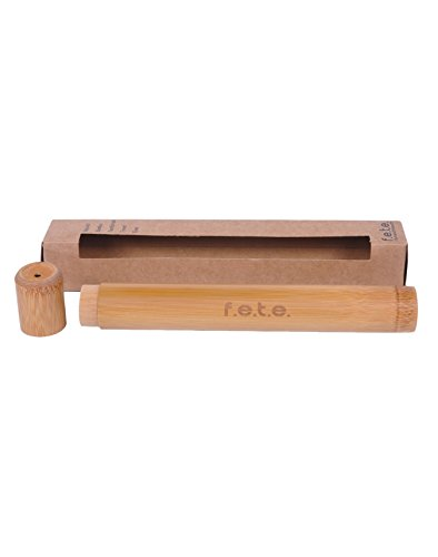 FETE Natural Wooden Bamboo Toothbrush Travel Case, Safe Storage, Eco Friendly & Biodegradable