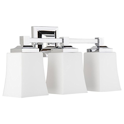 Brighton 3 Light Bathroom Vanity Fixture Chrome w/Frosted Glass Linea di Liara -