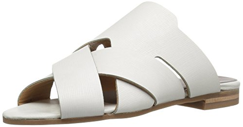 H by Hudson Women's Lonatu Calf Flat Sandal, White, 38 EU/7 M US by H by Hudson