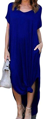 Cromoncent Occasionnel Des Femmes De Manches Courtes V-cou Divisé Robe Maxi De Couleur Solide Bleu