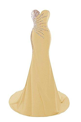Drehouse Robes De Soirée De Bal Sirène Chérie Cristal Perles D'or Des Femmes