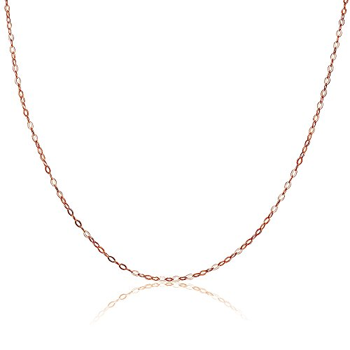 Rose Gold Flashed Sterling Silver 0.90mm Thin Delicate Cable Chain Necklace, 18 Inches ()