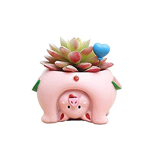 Youfui Cute Animal Flowerpot Animal Resin Succulent Planter Desk Mini Ornament (Pig)