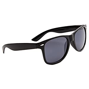 Classic Way-farer Sunglasses, Metal Spring Hinge, Black Frame, Smoke Lens 8172