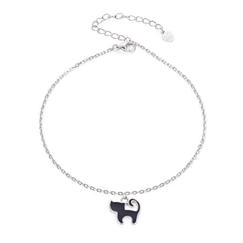 SILVERCUTE Solid Silver Chain for Ankle Foot Jewelry 925 Sterling Link Black Cat Charm Bracelet Anklets for Women Girls - Cat Sterling Silver Anklet