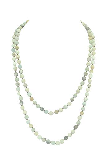Pomina Extra Long Single Strand Claspless Sea Foam Green Brown Cream Charcoal Stone Bead Layerable Necklace 56""