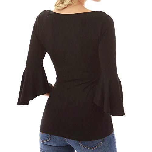 Pullover Pullover Collo Maglione Camicette UOMOGO Donna Maglietta O Felpa Campana Base Donne Tops Manica Elegante Nero Camicia PH6HTwq
