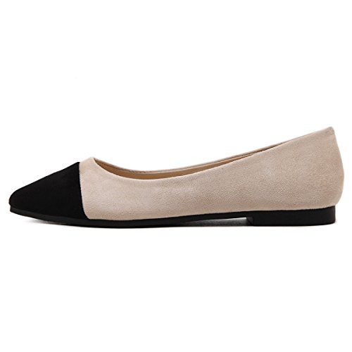 LEIT YFF Women's Flat Shoes Casual Pointed Suede Shallow Mouth Colorblock Apricot color OF0eG94aB
