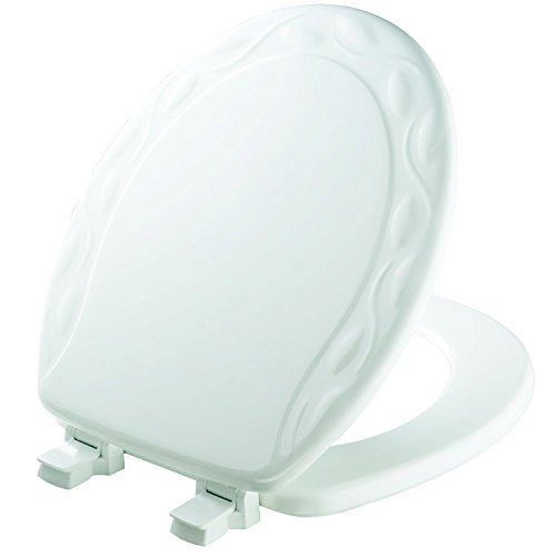 (MAYFAIR Sculptured Ivy Toilet Seat will Never Loosen and Easily Remove, ROUND, Durable Enameled Wood, White, 34ECA 000)