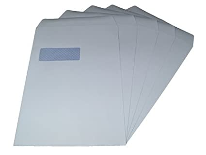 REALPACK® 50 x C4/A4 White Envelopes - Window Self Seal White Envelopes SS 90gsm Free Fast Shipping *Next Day UK Delivery* REALPACK®
