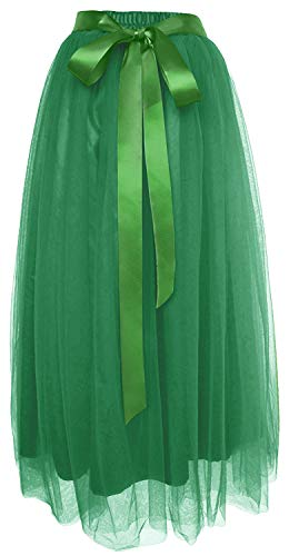 Dancina Women's Ankle Length Tutu Maxi A-line Long Tulle Skirt for Dates Weddings Regular (Size 2-18) Dark -
