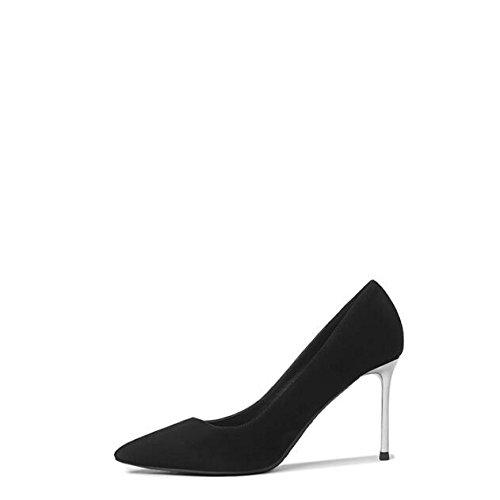 Court Sexy Mariage Femme Femmes Cuir Partie De Chaussures en Noir Mode Haut 5 Talons Black Professionnel Nightclubwork 4 EU 8cm Chaussures Givré 37 UK SwYICw