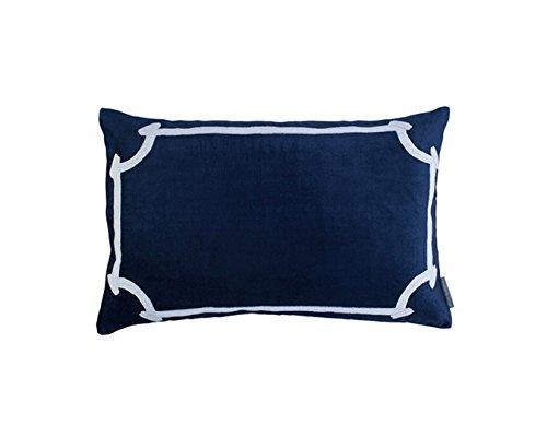 Lili Alessandra OL168AMW-L Angie Rectangle Pillow, Navy Velvet/White,