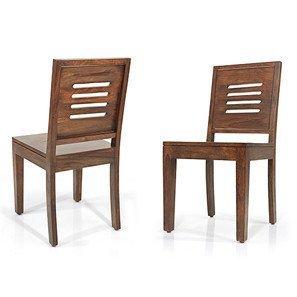 Custom Decor Jacquard Solid Wood Dining Chairs, Set of 2  Teak Finish