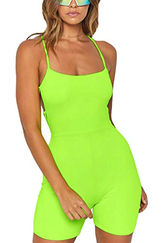Velius Women's Sexy Spaghetti Strap Backless Rompers Jumpsuits Shorts Outfits (Neon Green, -