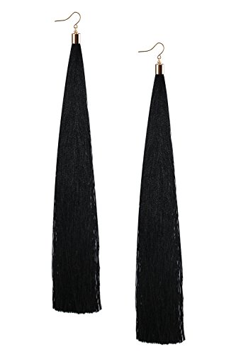 Mina Gold Long Tassel Draping Extra Long 8.5 Inch Flowy Shoulder Duster Black Earring