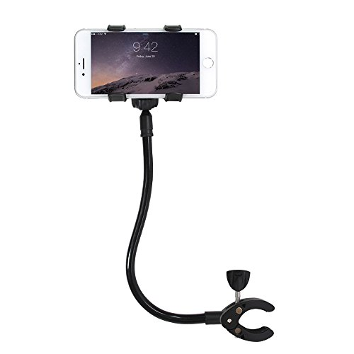 Audiology Connect Adjustable Universal Cell Phone Holder Gooseneck Hands Free Smartphone Baby Toddler Stroller Clamp Mount for iPhone ,Android, Galaxy 360 degrees rotation, perfect for moms on the go! (End Mount Gooseneck)