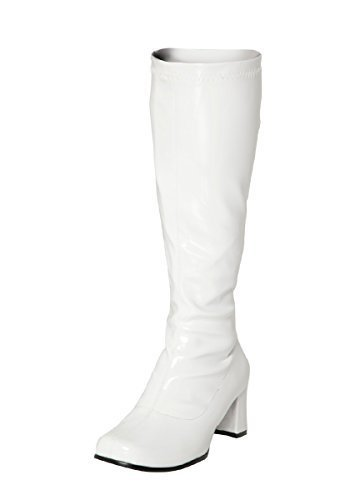 Fancy Dress Knee High Boots 60s 70s Retro Look GoGo Boots 3, Black Patent