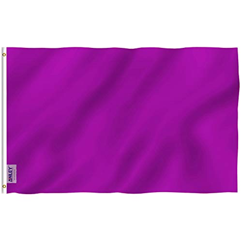 (Anley Fly Breeze 3x5 Foot Solid Purple Flag - Vivid Color and UV Fade Resistant - Canvas Header and Double Stitched - Plain Purple Flags Polyester with Brass Grommets 3 X 5 Ft)