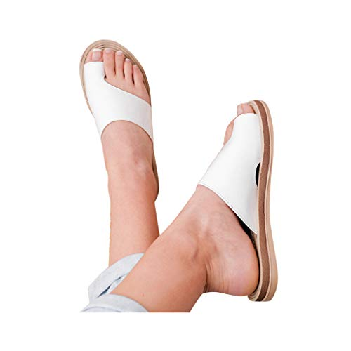 2019 New Women Comfy Platform Toe Ring Wedge Sandals Shoes Summer Beach Travel Shoes Comfortable Flip Flop Shoes White (Best Affordable Basketball Shoes 2019)