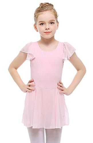 - STELLE Girls' Ruffle Short Sleeve Tutu Skirted Ballet Leotard Dance, Ballet(110cm, Pink)