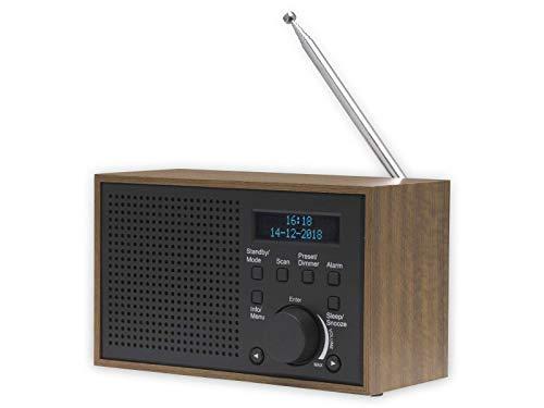 DAB+ en FM-radio, DAB-46, donkergrijs, klok en wekker, werkt met batterij en stroom, 2 W audio-uitgang, houten afwerking…